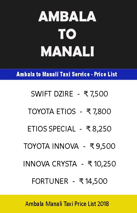 ambala manali taxi price
