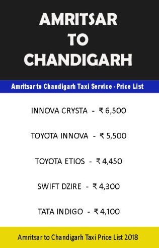 amritsar chandigarh taxi price list