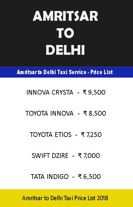 amritsar delhi taxi price list