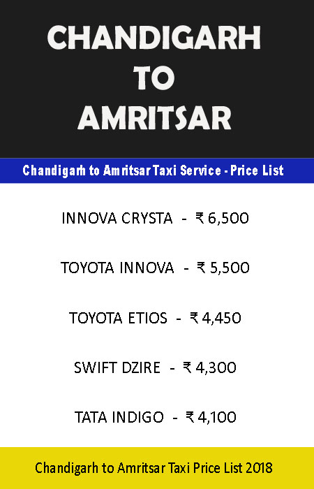 chandigarh amritsar taxi price list