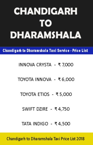 chandigarh dharamshala taxi price list