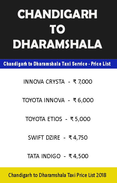 chandigarh dharamshala taxi price list