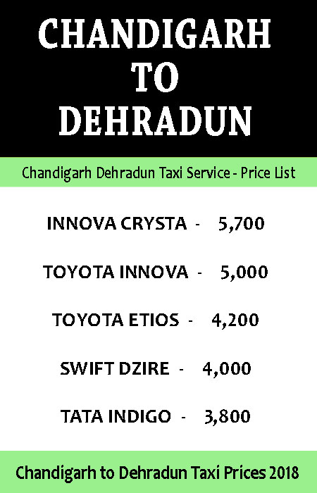 chandigarh to dehradun taxi price list