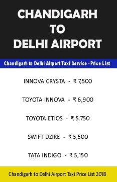 chandigarh to delhi airport taxi price list