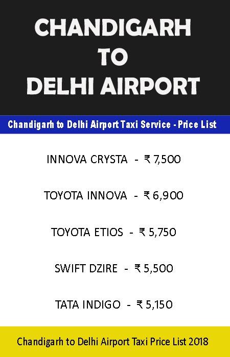 chandigarh to delhi airport taxi price list
