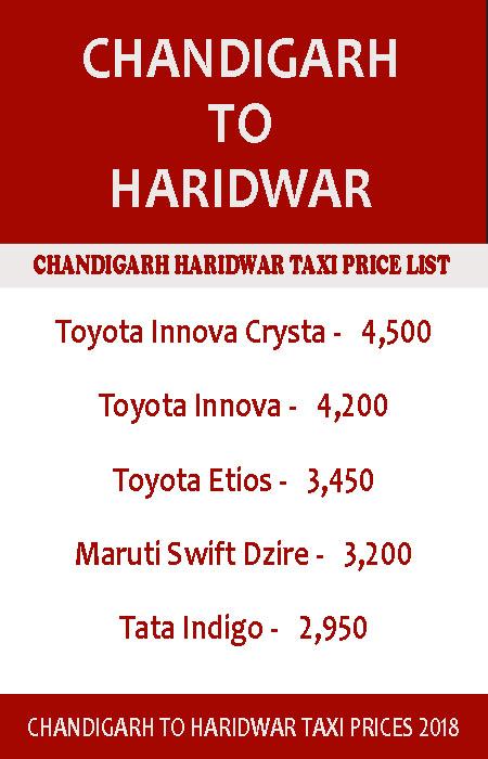 chandigarh to haridwar taxi price list