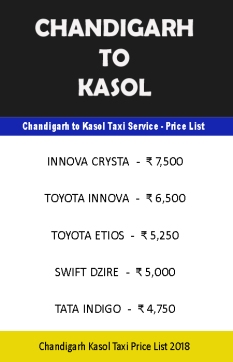 chandigarh to kasol taxi price list