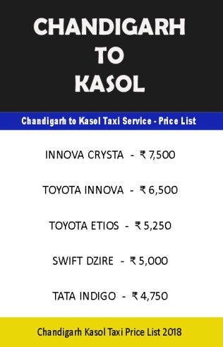 chandigarh to kasol taxi price list