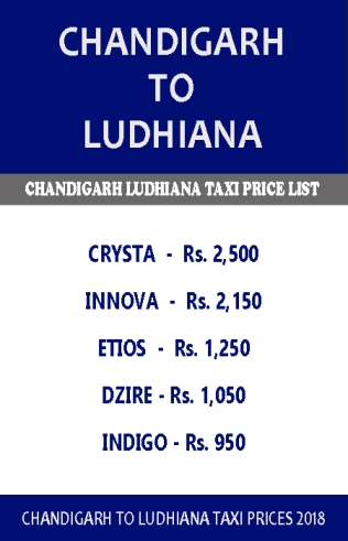 chandigarh to ludhiana taxi price list