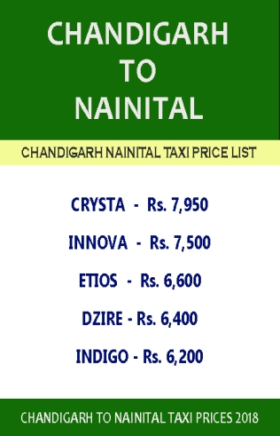 chandigarh to nainital taxi price list