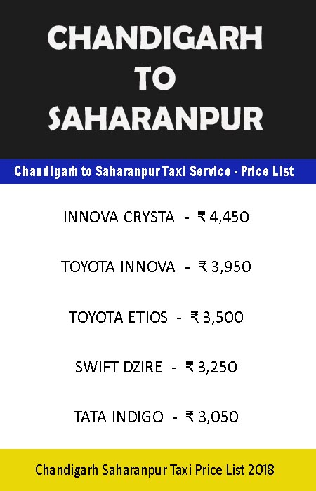 chandigarh to saharanpur taxi price list