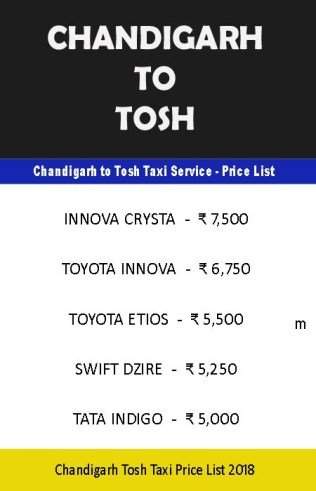 chandigarh to tosh taxi price list