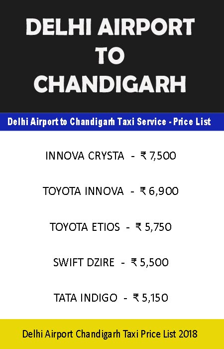 delhi airport to chandigarh taxi price list