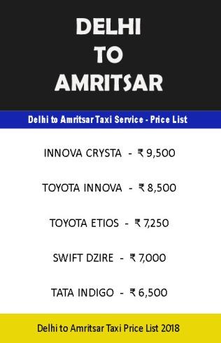 delhi amritsar taxi price list