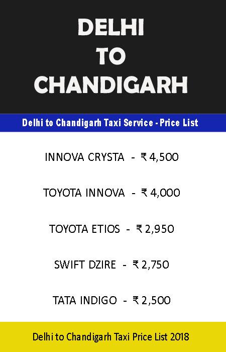delhi chandigarh taxi price list