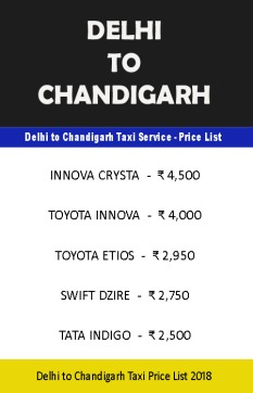 delhi chandigarh taxi price list