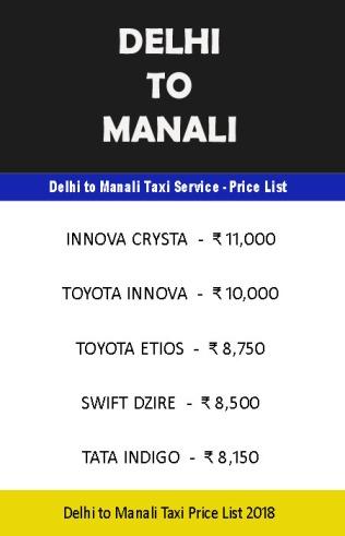 delhi manali taxi price list