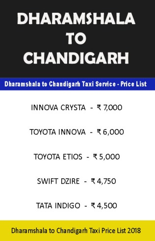 dharamshala chandigarh taxi price list
