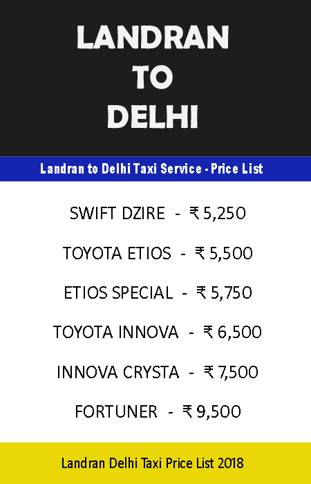 landran delhi taxi price list