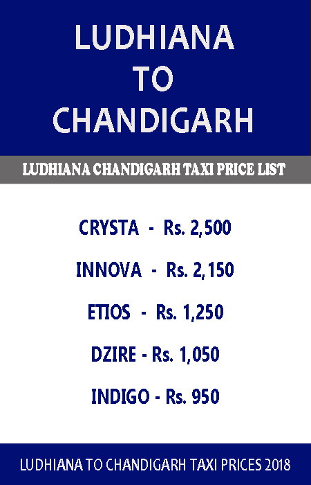 ludhiana to chandigarh taxi price list