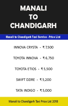 manali chandigarh taxi price list