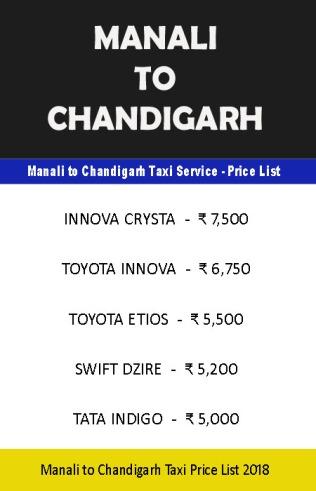 manali chandigarh taxi price list