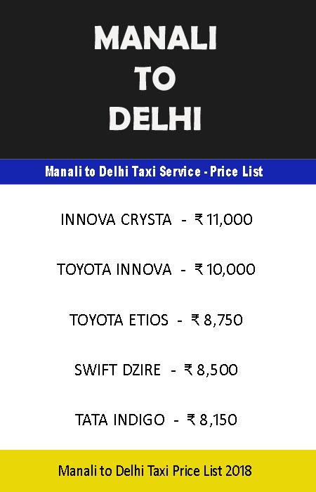 manali delhi taxi price list