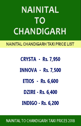 nainital to chandigarh taxi price list