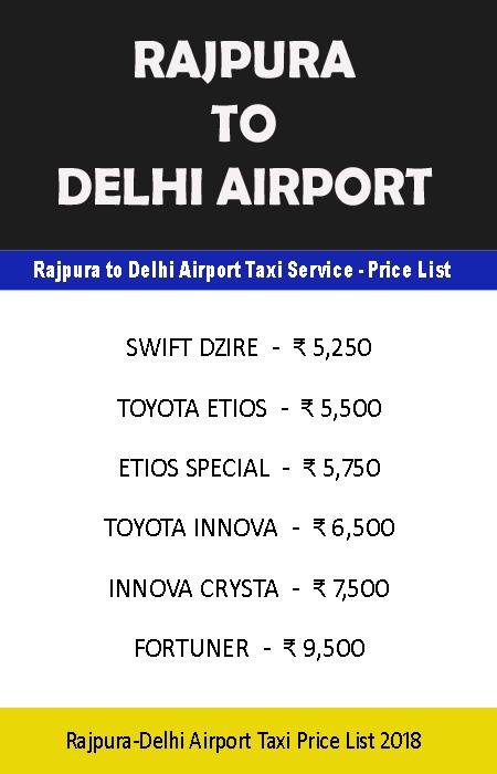 rajpura to delhi airport taxi price list