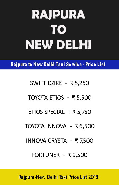 rajpura to new delhi taxi price list