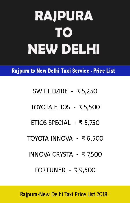 rajpura to new delhi taxi price list