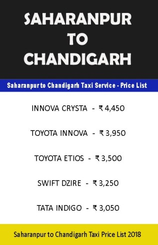 saharanpur to chandigarh taxi price list