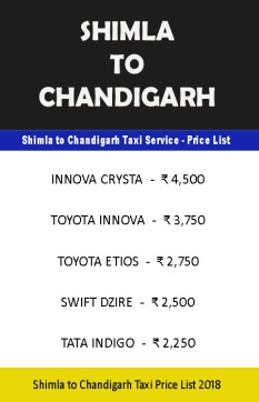 shimla chandigarh taxi price list