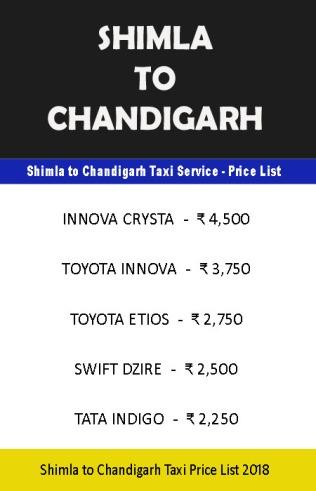 shimla chandigarh taxi price list