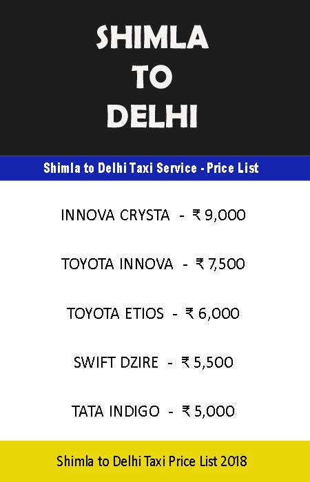 shimla delhi taxi price list