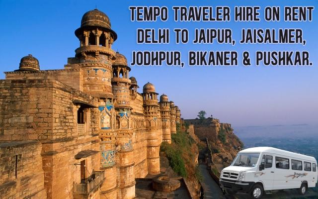 tempo traveller hire on rent delhi chandigarh outstation tourto jaipur jodhpur jaisalmer bikaner pushkar