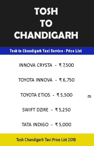 tosh to chandigarh taxi price list