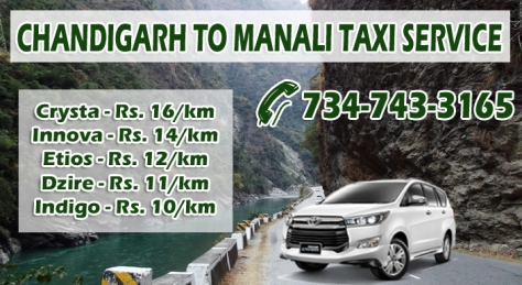 chandigarh to manali taxi price