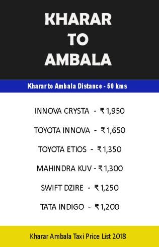 kharar to ambala taxi