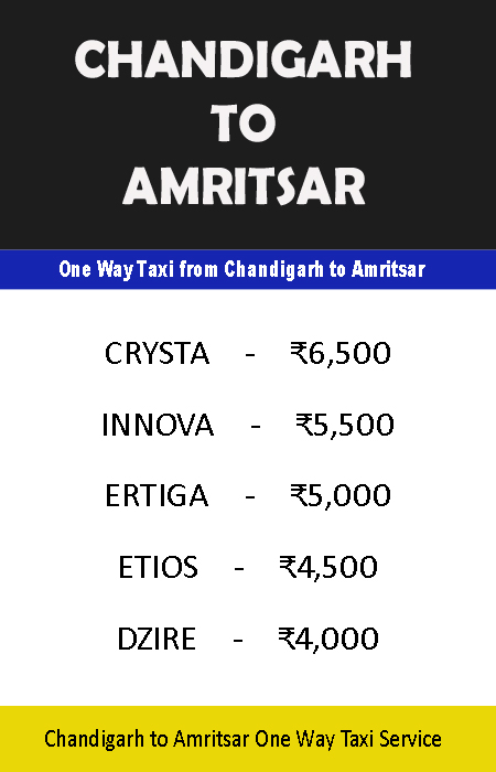chandigarh amritsar one way taxi service