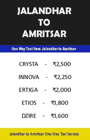 jalandhar to amritsar taxi